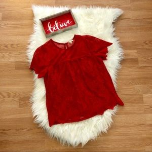 Lily White Lace Lined Blouse in Bright Red
